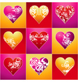 nine lovely color heart vector image