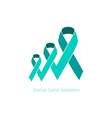 Ovarian Cancer Teal Ribbon Awareness vector image