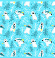 polar bears seamless pattern with fish and fur vector image
