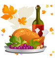 roasted whole chicken or turkey sauced and grilled vector image vector image