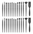 set black and white with brushes vector image