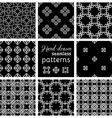 Set of nine seamless geometric patterns vector image vector image