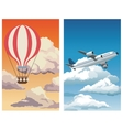set sunset sky airballoon-blue sky clouds plane vector image