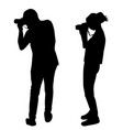 silhouette of photographers on white background vector image