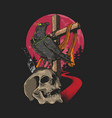 skull and crow graphic vector image vector image