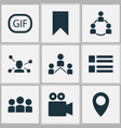 social icons set with network video conversation vector image vector image