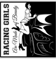 street racing sexy sport girl and sport car auto vector image vector image