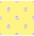 Tile pattern with cupcake on yellow background vector image vector image