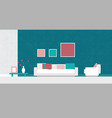 turquoise red salmon and white living room vector image