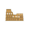 yellow colosseum icon - famous landmark from rome vector image