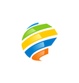 globe abstract technology colorful logo vector image