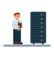 flat of network engineer vector image