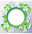 Patricks day background frame with 3d leaf clover vector image