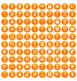 100 mobile app icons set orange vector image vector image