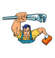 a repairman with an adjustable wrench vector image vector image