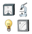 ammeter or voltmeter microscope and light bulb vector image vector image