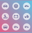 auto icons line style set with garage battery vector image vector image