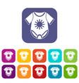 baby bodysuit icons set vector image vector image