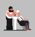 barber washing clients head vector image
