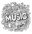 cartoon cute doodles music word vector image vector image