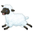 cartoon happy sheep jumping isolated on white back vector image vector image