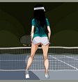 cartoon woman in sexy clothes playing tennis vector image vector image