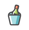 champagne bottle and ice bucket icon vector image