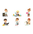 children businessmen with a bunch money set of vector image