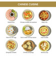 chinese cuisine menu traditional dishes vector image vector image