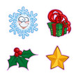 christmas icon set - snowflake gift holly star vector image