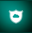 cloud and shield icon isolated on green background vector image vector image