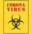 corona virus biohazard warning safety icon shape vector image vector image