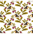 cute bird and berries seamless pattern vector image vector image