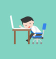 cute businessman napping on desk at working place vector image