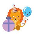 cute lion gift balloon kawaii birthday vector image