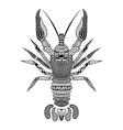 entangle stylized black crawfish hand drawn vector image