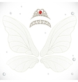 Fairy white wings with tiaras bundled vector image vector image