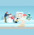 father playing with his children on winter time vector image vector image