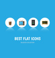 flat icon life set of cappuccino television vector image vector image