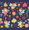 floral fairies seamless pattern vector image vector image