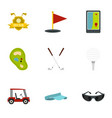 golf things icons set flat style vector image vector image