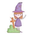 happy halloween celebration girl witch costume vector image vector image