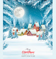 holiday christmas background with a village and vector image vector image