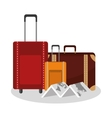 Isolated bag and map of travel design vector image vector image