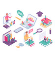 isometric online education virtual class with vector image