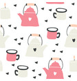 kettles and mugs seamless pattern with hearts vector image