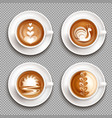 latte art top view icon set vector image vector image