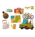 medicine chest teapot flask map compas car with vector image vector image