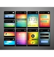 Mobile interface elements with colorful wallpaper vector image