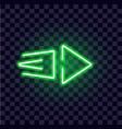 neon arrow luminous indicator neon tube showing vector image